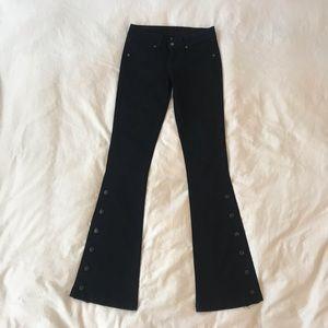 Flare Boot Leg Button Black Jeans